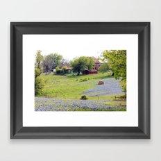 Old Red Barn and Rolling Bluebonnet Hills Framed Art Print