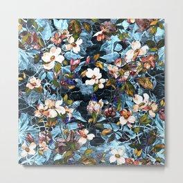 Dogwood and MagnoliaI (Turquoise)Pattern Metal Print