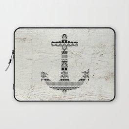 Aztec Nautical Anchor Black White Vintage Wood Laptop Sleeve