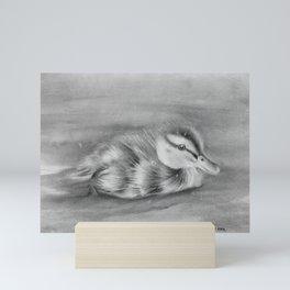 Duckling Paddling in the River Mini Art Print