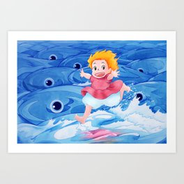 Ponyo Runs on Water with the Big Fishes Art Print