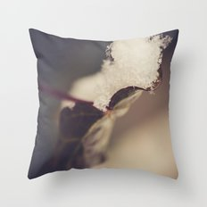 Snow Filled Leaf Throw Pillow