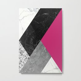 Black and white marbles and pantone pink yarrow color Metal Print
