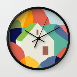 Green roof cottage Wall Clock