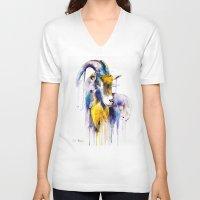 goat V-neck T-shirts featuring Goat  by Slaveika Aladjova