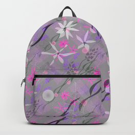 Flowers, twigs and polka dots in gray and pink neon Backpack