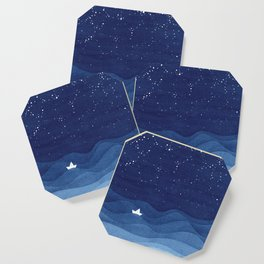 blue ocean waves, sailboat ocean stars Coaster
