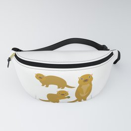 Set of funny Gopher ground squirrel with acorn on white background. Vector illustration Fanny Pack