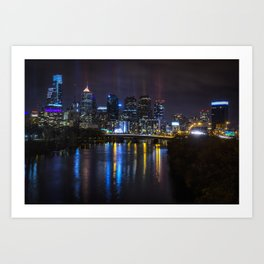 Philly Skyline Glowing Art Print