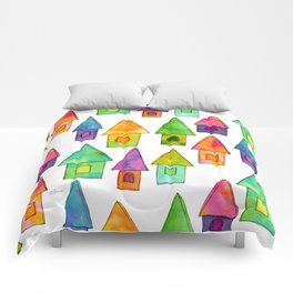 Home Sweet Home house illustration holiday gift family parents housewarming gift grandparents Comforters