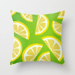 Lemon Slices Yellow And Green Throw Pillow