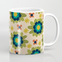 Morelia Flowers Cheerful Floral Pattern in Navy, Teal, Olive Green, Mustard, Orange and Mid Mod Beige  Coffee Mug