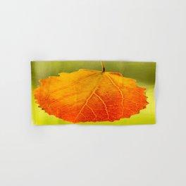 Orange Leaf Vivid Green Background #decor #society6 #buyart Hand & Bath Towel