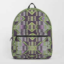Violet Purple Pink Lime Green Native American Indian Mosaic Pattern Backpack