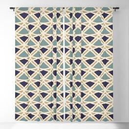 DECO - teal navy gold ivory diamond artdeco pattern Blackout Curtain