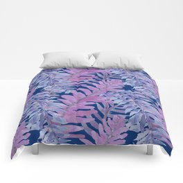 Woodland Ferns in Blue Comforters