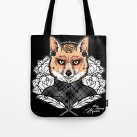 mr fox Tote Bags featuring Mr Fox by Miss Cherry Martini