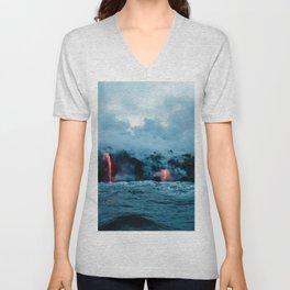 Vulcano ocean Unisex V-Neck