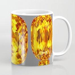 NOVEMBER GOLDEN TOPAZ FACETED GEMS GREY ART Coffee Mug