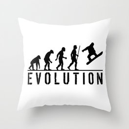 The Evolution Of Man And Snowboarding Throw Pillow