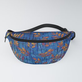 Royal blue and gold fall leaf pattern, modern,chic,Royal blue, gold ,fall leaf, pattern, modern,chic Fanny Pack