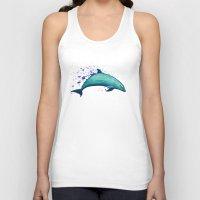 psychadelic Tank Tops featuring Indigo Lagoon ~ Dolphin Watercolor by Amber Marine