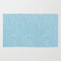 Hand Knit Sky Blue Rug