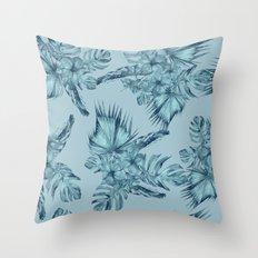 Hawaiian Blue Teal Island Pattern Throw Pillow
