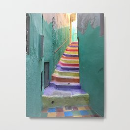 Colorful steps in Moulay Idriss, Morocco Metal Print