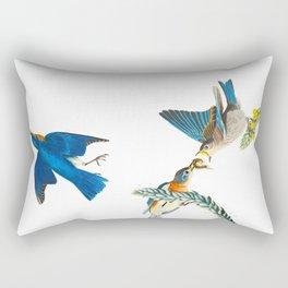 Blue Bird Vintage Illustration Rectangular Pillow