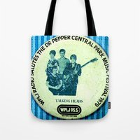 talking heads Tote Bags featuring Central Park talking heads 1979 by Del Gaizo