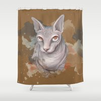 sphynx Shower Curtains featuring Sphynx cat by Illustratic