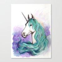 unicorn Canvas Prints featuring Unicorn by Pendientera
