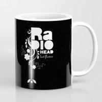 radiohead Mugs featuring Radiohead song - Last flowers illustration white by LilaVert