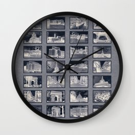 France Collage Negatives Wall Clock