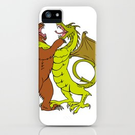 Chinese Dragon Fighting Grizzly Bear Drawing Color iPhone Case