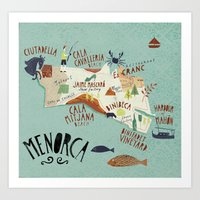 Menorca Illustrated Map Art Print