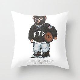 ftp bear Throw Pillow
