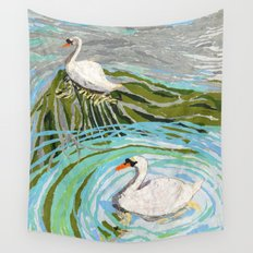 Two Swans Wall Tapestry