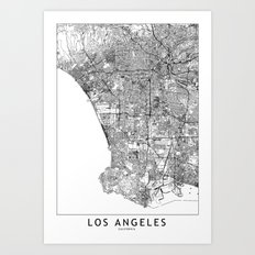 Los Angeles White Map Art Print