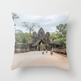 Angkor Thom South Gate with Tourists on Bikes, Cambodia Throw Pillow