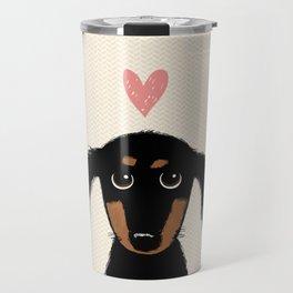 Dachshund Love   Cute Longhaired Black and Tan Wiener Dog Travel Mug