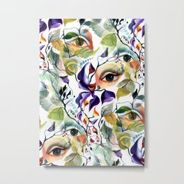 Chic Elegant Artistic Pshychedelic Utopian Painted Eyes Metal Print
