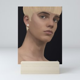 boy with a pearl earring Mini Art Print