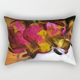 Dying Flower of Pink and Red in a White Vase Rectangular Pillow