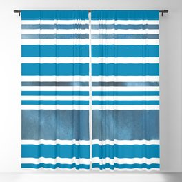 Shades of Blue Modern Stripes Blackout Curtain