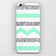 mint and glitter stripes iPhone & iPod Skin