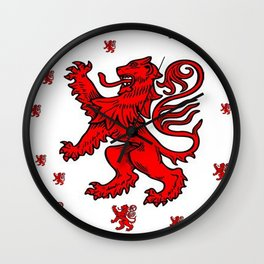 Macho Rampant Heraldic Red Lions Pattern Art Wall Clock