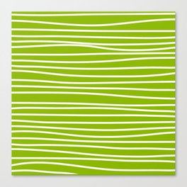 Apple Green & White Maritime Hand Drawn Stripes- Mix & Match with Simplicity of Life Canvas Print