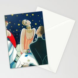 The Woman in Red & Stars, Art Deco - Haute Couture NYC Portrait Painting Stationery Cards